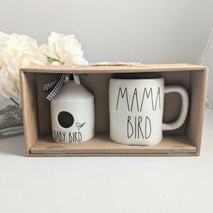 Rae Dunn Mama Bird Baby Bird Set Birdhouse Mug